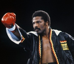 Aaron Pryor in Boxing Robe and Gloves